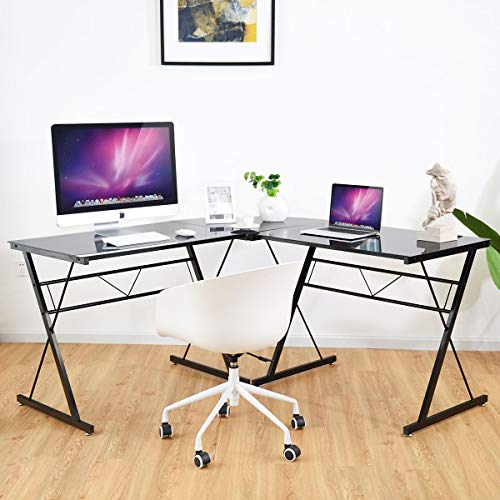 Tangkula L- Shaped Corner Desk, Corner Computer Desk
