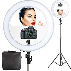 "18"" LED Video Ring Light with Mirror, 6ft Stand Tripod"