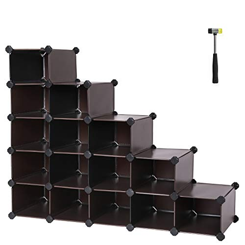 SONGMICS Shoe Rack, 16-Cube Modular Cube Storage