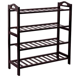 Bamboo 4-Tier Shoe Rack 30 Inch Wide Entryway Shoe Shelf Storage Organizer