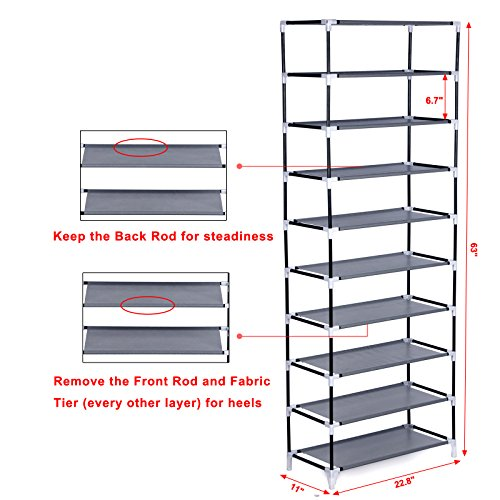 10-Tier Shoe Tower Rack with Cover 27-Pair Space Saving Shoe This Songmics 10-level Dustproof Shoe Rack is intended to give an extraordinary stockpiling answer for your gathering of most loved footwear. It is built out of metal channels, non-woven textures and plastic connectors, so it can hold various sets of shoes. This creative, lightweight space sparing shoe rack can be set in a cubby storage room, mudroom or occupied gateway to keep shoes or embellishments available.