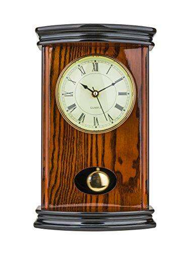 "Mantel Clock 13.0"" H x 8.0"" L x 9.0"" W Quartz, Pendulum Clock"