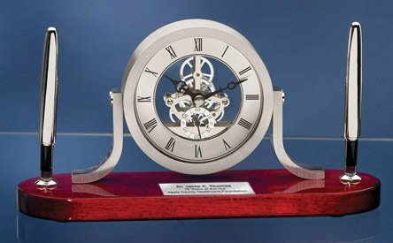 Personalized Clock Pen Gift Set Mahogany Desk Table