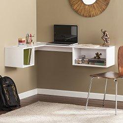 Southern Enterprises Corner Wall Mount Desk, White
