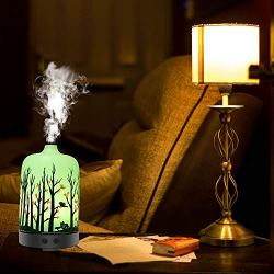 JIUBAJU Essential Oil Diffuser,100ml Aromatherapy Capacity: 100ml 【Unique & Romantic Design】 100ml has a characteristic appearance with full functionary, including ultrasonic fog generator, clock, and auto shut-off. The full range customizable 7 shading light is perfect for both home adornment or gift. 【Timesetting&AUTO Shuff Off】4 Time Setting Modes: 30 minutes, 60 minutes, 2 hours, 3 hours and constant. Press the Power Button to pick a legitimate time setting. Planned with waterless auto-off capacity, this fundamental oil diffuser will kill consequently after 5s when water runs out for your wellbeing and the assurance of the fragrance diffuser as well. 【Super Quite】 This fragrance based treatment fundamental oil diffuser has lessen commotion configuration, watering-holding spread. Received ultrasonic innovation, this fragrance diffuser runs so unobtrusively that you scarcely see it. Perfect for office, spa, salon, Yoga studio, tyke's room, and exercise based recuperation studios. 【Best care】 This is the best consideration for your family, likewise it's entirely appropriate for contemplation, yoga, spa. Product Name: Branch Aromatherapy Machine Product No:STB-008 Material: ABS+PP+ electronic segments Product estimate: 168.5* 168.5*243mm Product bundling: shading box Single net weight/net weight: 442G/713G Style/shading: light wood grain, profound wood grain Product material: ABS+PP+ electronic segments Working voltage: DC5V Working flow: 400MA Power: 13W Water tank limit: 400ML Spray volume: about 40ML/hour Working time: 6-10 hours LED: 7 hues light JIUBAJU Essential Oil Diffuser,100ml Aromatherapy Ultrasonic Cool Mist Humidifier Glass Essential Oil Aroma Decorative Lamp Living Room Meditation Spa- Forest Feeling Trees Birds in Home.