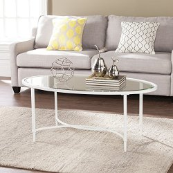 Southern Enterprises Quinton Glass Oval Cocktail Table, White Finish