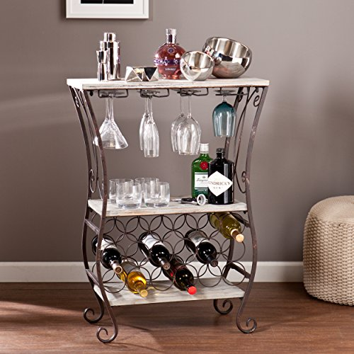 Arcino 18 Bottle Wine Storage Table, Gray with Antique