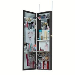 Mirrotek Upgraded Cosmetic Storage Armoire, Black