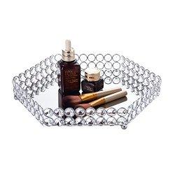 Feyarl Crystal Hexagon Cosmetic Tray Jewelry Organizer Vanity Tray Mirrored Decorative Tray (Silver)