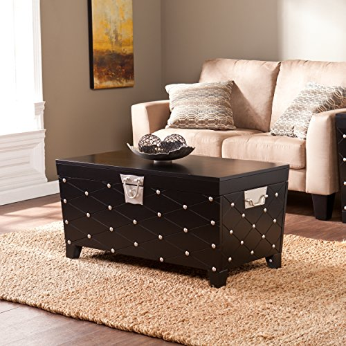 Cocktail Table Storage Trunk, Black and Satin Silver Finish