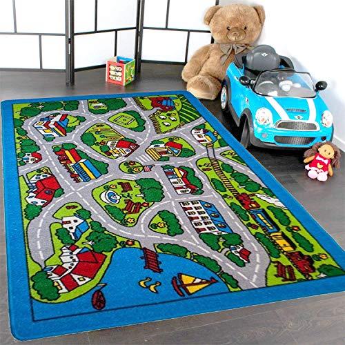 Mybecca Kids Rugs Street Map in Grey 8 x 11 Childrens
