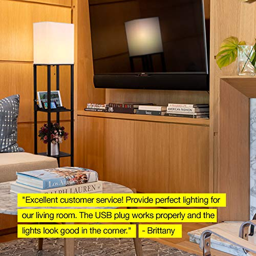 Brightech Maxwell Charging Edition -LED Shelf Floor Lamp