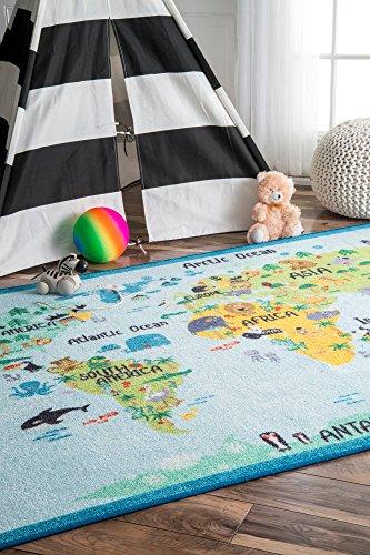 nuLOOM Animal World Map Kids Rug