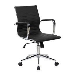 Modern Medium Back Executive Office Chair - Black