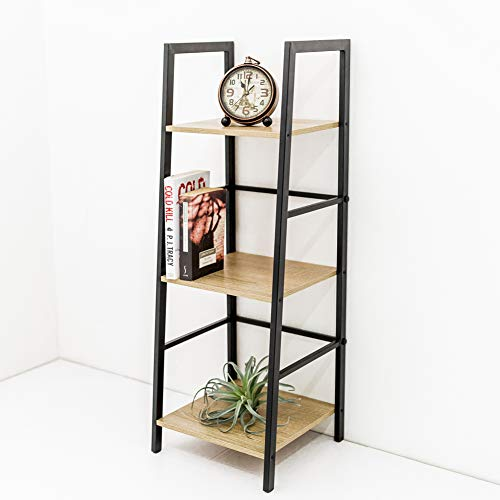 C-Hopetree Vintage Bookshelf Industrial Ladder Bookcase Slim