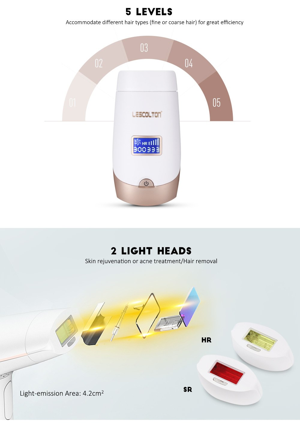 Lescolton 2in1 IPL Laser Hair Removal Machine Permanent Laser Epilator Hair Removal Laser Bikini Trimmer Electric Depilador 12