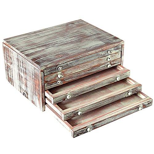 MyGift Torched Wood 6-Drawer Desktop Document & Filing Cabinet
