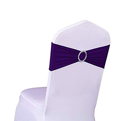 SINSSOWL Pack of 50PCS Elastic Slider Chair Sashes Spandex Chair Cover