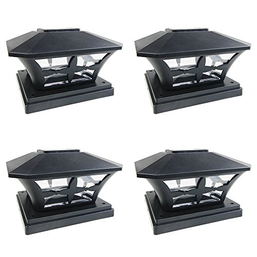 iGlow 4 Pack Black Outdoor Garden 6 x 6 Solar SMD LED