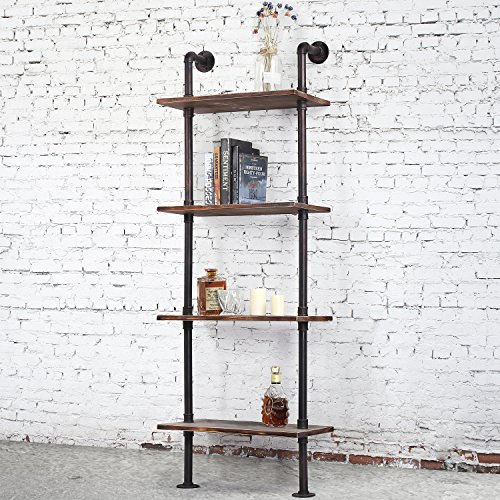MyGift Industrial Style Metal and Wood Wall-Mounted 4-Tier Display