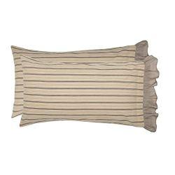 VHC Brands Farmhouse Bedding Miller Farm Charcoal Cotton Striped