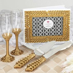 Gold Lattice Botanical Collection Set, Consisting Of A Cake Knife Set