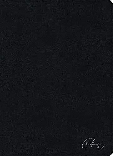 RVR Biblia de estudio Spurgeon, negro piel genuina