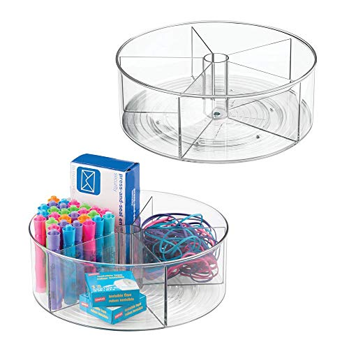 mDesign Deep Plastic Lazy Susan Turntable Storage Container