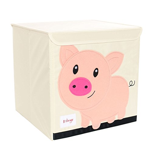 PICCOCASA Foldable Toy Storage Bins Square Cartoon Animal Nonwovens