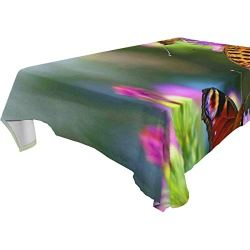 lightly Rectangle Tablecloth,Beautiful Butterflies Washable Polyester Table Cover