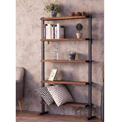 MyGift 5-Shelf Industrial Metal & Wood Bookcase