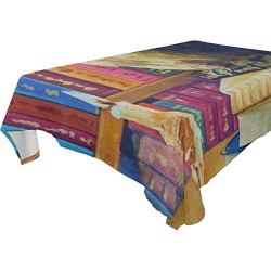 lightly Rectangle Tablecloth,Animal Owl Art Painting Washable Polyester Table Cover