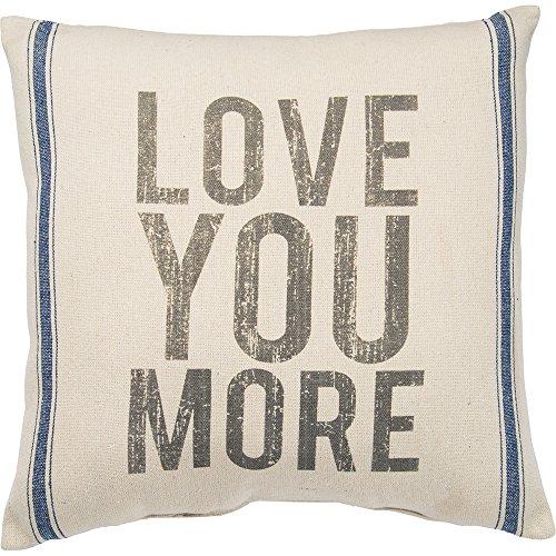 Primitives by Kathy Vintage Flour Sack Style Love You More Throw Pillow