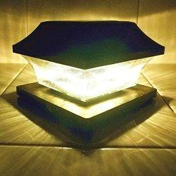 """Solar Post Cap Lights Outdoor 5"""" Root Vinyl Silver Lantern"""