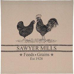 VHC Brands Farmhouse Bath Miller Farm Charcoal Poultry Rod Pocket