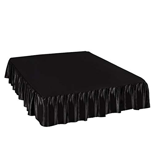 PiccoCasa Satin Silk Bed Skirt 300 Thread-Count Dust Ruffle