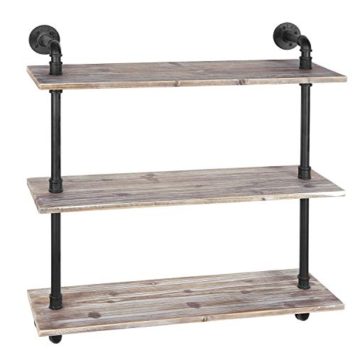 MyGift 3-Shelf Industrial Style Pipe & Rustic Wood Wall