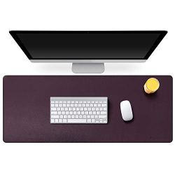 """Mydours PU Leather Desk Mat Pad Blotter Protector 37.4""""×15.7"""" XXL Large Laptop Keyboard Mat Mouse Pad Both Side Waterproof Leather Desk Protective Pads for Office/Home (Dark Purple)"""