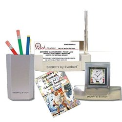 """Snoopy by Everhart"" 3 Piece Desk Top Gift Set Has a Desk Clock"