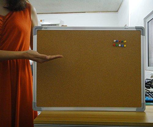 "Bulletin Board Set - Cork Board 24 x 18"" + 10 Color Pins"