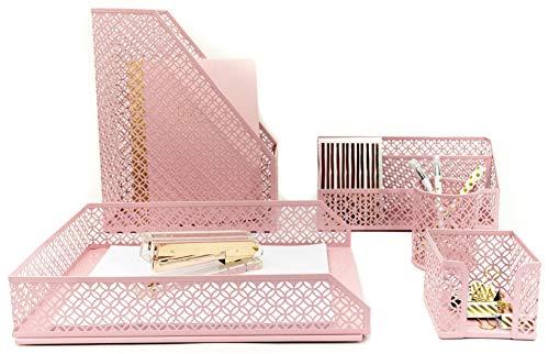 Pink Desk Accessories for Women-5 Piece Desk Organizer Set-Mail Sorter