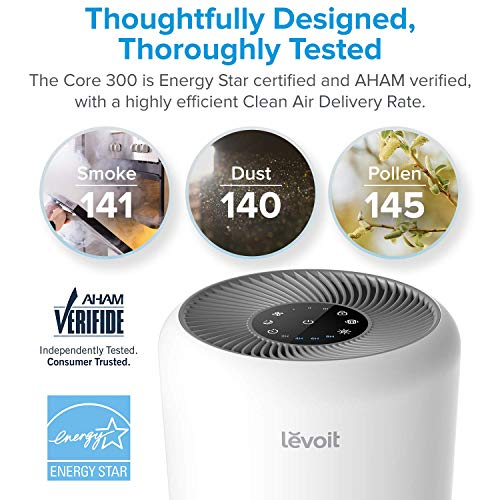 LEVOIT Air Purifier for Home Allergies and Pets Hair Smokers in Bedroom  Word: It is suggested to position the air purifier with out filter in a well-ventilated house and run it on the third velocity for 4-6 hours to get higher purifying. As it may well rapidly blow off the plastic odor from new machine that fully sealed for the transport Greater Purify Efficiency: Use the Core 300 to fill your surroundings with crisp, clear air. Its Superior Cyclone Expertise creates a stronger air circulate, AHAM Licensed CADR quantity is 230+m3/h, permitting it to cowl as much as 215 sq.ft Improved Filtration: With bigger growth space and longer size than others, the HEPA filter works with ultra-fine Pre-filter and activated carbon filter, trapping 99.97% of superb particles as small as 0.Three microns and massive pollution akin to pollen, mud, pet dander, smoke Most Silent Air Cleaner: The noise degree is almost unvoiced at sleep mode with solely 24db, its Bionic Damping Expertise reduces noise so you may sleep in a restful and soothing indoor surroundings Extremely-long Service Life: The AC capacitor motor makes use of sturdy high-precision bearing, and wonderful inner construction will increase abrasion resist, which clearly extends the lifetime of machine Full Licensed for Safer: AHAM Verified, is the Affiliation of Home Equipment Producers, Complies with California air assets board(CARB) for indoor cleansing units. Additionally Vitality Star Verified, FCC licensed, ETL listed, CA PROP 65 licensed Ozone Free: Levoit air purifiers keep away from utilizing UV/Ion mild, an air cleansing technique that analysis has proven can produce dangerous ozone and secondary air pollution Undisturbed Operation: show mild could be turned off to get pleasure from an ideal evening of sleep with out the impact of sunshine. A timer for 2/4/6/eight hours and filter life time indicator for your comfort What you get: Air air purifier, 3-in-1 HEPA filter and person handbook. 2-12 months Guarantee and lifetime assist from Levoit. Substitute filter is out there to buy (Search for: Core 300-RF) LEVOIT Air Purifier for Home Allergies and Pets Hair Smokers in Bedroom, True HEPA Filter, 24db Filtration System Cleaner Odor Eliminators, Remove 99.97% Smoke Dust Mold Pollen for Large Room,Core 300
