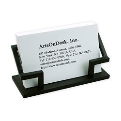 ArtsOnDesk Modern Art Business Card Holder Steel Black Patented