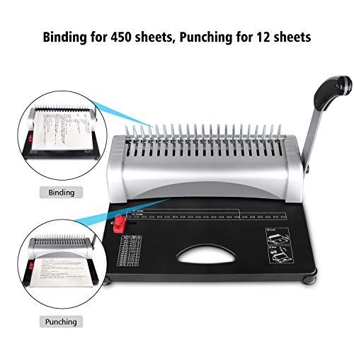 MAKEASY Binding Machine, 21-Hole, 450 Sheet, Paper Punch Binder MAKEASY Binding Machine, 21-Hole, 450 Sheet, Paper Punch Binder with Starter Kit 100 PCS 3/8'' PVC Comb Bindings, Comb Binding Machine Scrapbook.