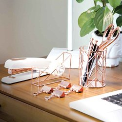 U Brands Desktop Accessory Kit, Office Supplies Set, Rose Gold, 10-Piece