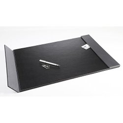 "Artistic 24"" x 19"" Monticello Executive Leather-Like Desk Pad with Side Rails, Black/Grey Side Rails"