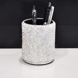 Bestbling Crystal Pencil Pen Pot Holder Box Bling Rhinestone Pen Organizer Holder Cosmetic Pen Container (Silver, Round)