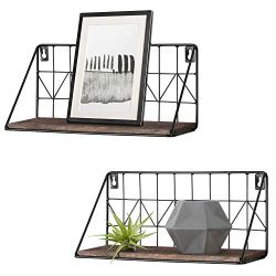 Mkono 2 Set Floating Shelves Wall Mounted Rustic Metal Wire Storage