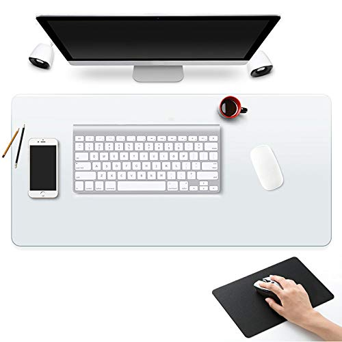 Clear Desk Pad Blotter Mats Office Clear Table Protector on Top of Desks for Laptop Computer Desktop Keyboard Pads Plastic Vinyl PVC Wipeable Waterproof with Mouse Pad Mat Extra Large 24 x 48""