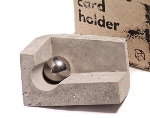 Concrete Business Card Holder for Desk with Magnet and Steel Ball